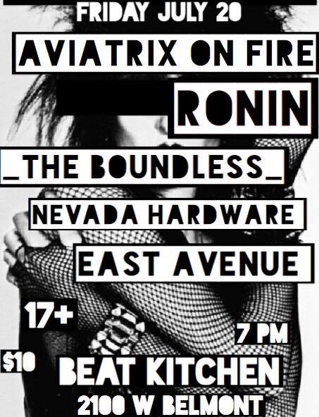 aviatrix on fire - goth night at beat kitchen flyer - 07 20 18